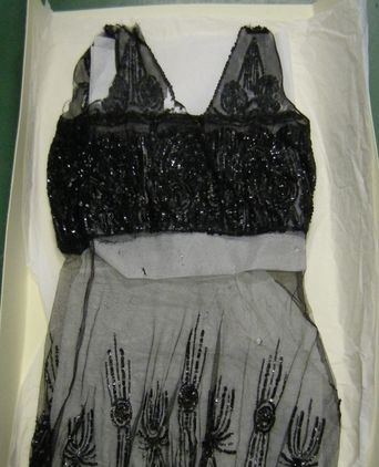 Black sequinned flapper dress made by Miss Una Simpson