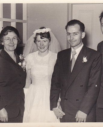 Leo Pastega and Jill O'Halloran marry in 1954.  Angelo and Gina Pastega on left.  Ori Pastega on right.