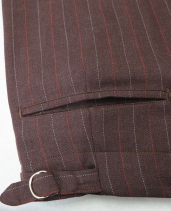 Detail of back pocket on trousers.