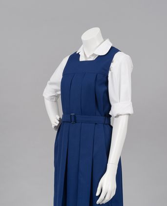 Box pleat uniform and shirt with peter pan collar