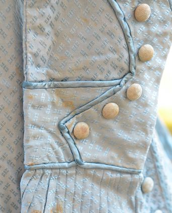 Close up of self-fabric buttons