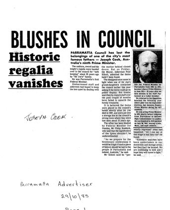 Newspaper Article - 'Blushes in Council'