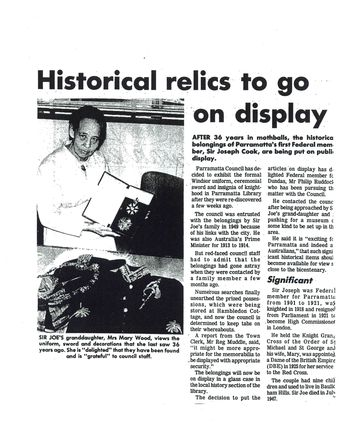 Newspaper Article - 'Historical Relics to go on Display'