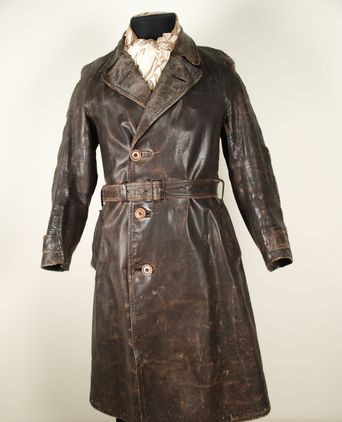 Leather trench coat front view