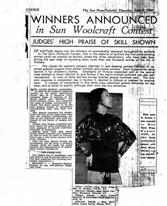 An article on Ms Mogg's prize-winning black and floral jumper (86/1163)
