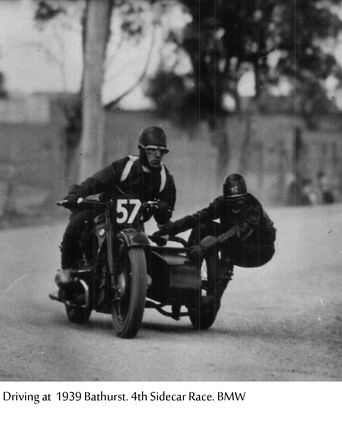 Charles Stanly Braybon at Bathurst driving in a sidecar race in 1939