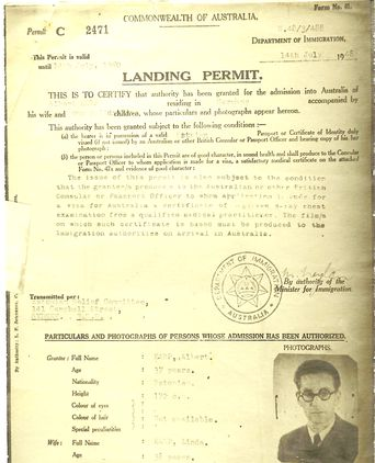Landing Permit for Helmut Juske and his family