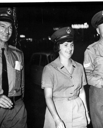 PM2739: Constable Roslyn Kelleher PW11, walking the beat with two Senior Constables at Rockhampton in 1966.