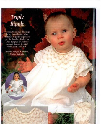 """Triple Ripple""  ""Australian Smocking"" magazine,issue 21, Winter 1992 page 8"
