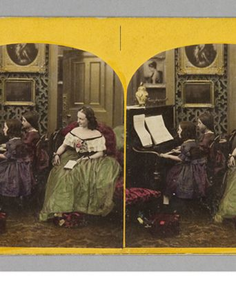 Stereoscopic photograph of children playing a piano. 1860-1890 Powerhouse Museum, P2655-48