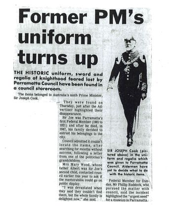 Newspaper Article - 'Former PM's Uniform Turns Up'