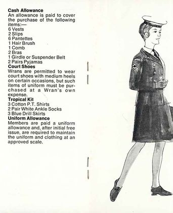 'Clothing and Uniform' pages of a WRANS recruitment booklet, reproduced courtesy of the Royal Australian Navy