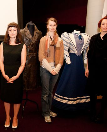 Rebecca Clark, Robyn Murphy and Christie Milton presenting the coat at the Powerhouse Museum History Week event.
